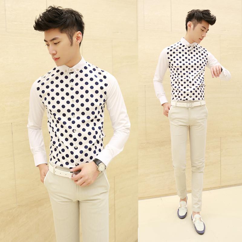 Personalized-shirt-men-s-polka-dot-shirt-autumn-fashionable-casual-long-sleeve-shirt-male-shirt
